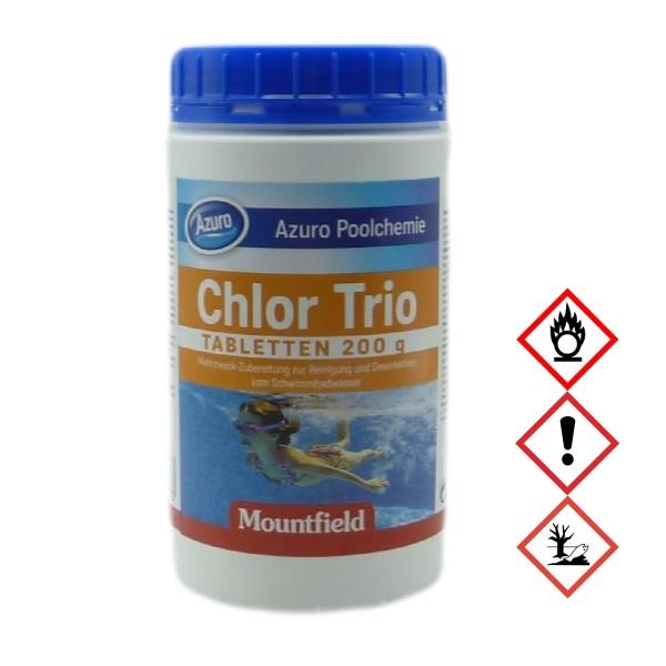 Azuro Pool Chlor Tabletten Tabs Desinfektion Trio Multifunktion (200g) - 1kg