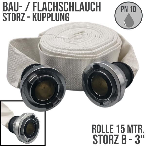 """Bauschlauch Feuerwehr Flach Wasser Industrie Schlauch STORZ B 75 mm 3"""" - 15m"""