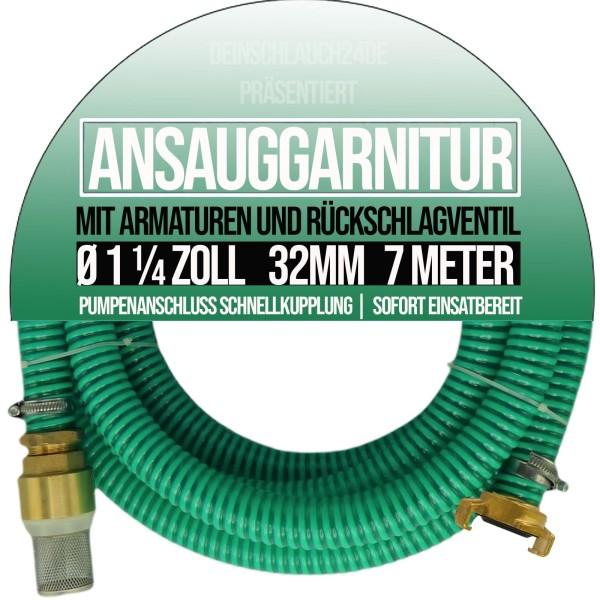 "32mm 1 1/4"" Ansauggarnitur Saug Ansaug Garnitur Schlauch grün - 7m"