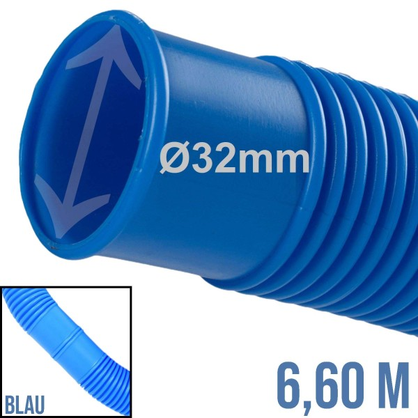 32 mm Schwimmbad Pool Solar Saug Ansaug Teich Schlauch blau - 6,6m Rolle