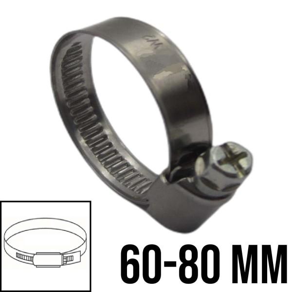 Schlauchschellen Rohr Schelle Edelstahl V2A Bandbreite 9mm DIN3017 W2 | 60-80mm