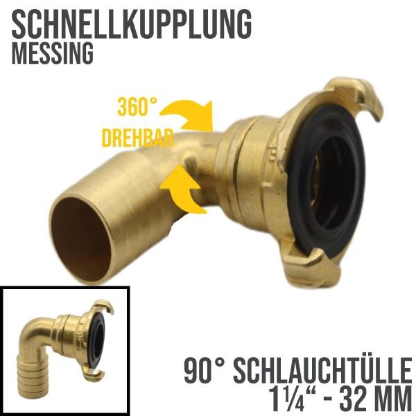 """1 1/2"""" - 38 mm Messing Schlauch Schnell Kupplung Tülle drehbar (GEKA kompatibel)"""