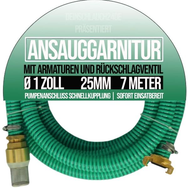 "25mm 1"" Ansauggarnitur Saug Ansaug Garnitur Schlauch grün GEKA kompatibel - 7m"