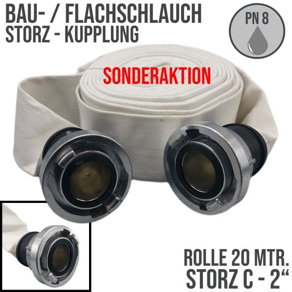 """Bauschlauch Feuerwehr Flach Wasser Industrie Schlauch STORZ C 51 mm 2"""" - 20m"""