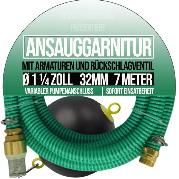 """25mm 1"""" Ansauggarnitur Saug Ansaug Garnitur Schlauch schwimmende Entnahme 4m"""