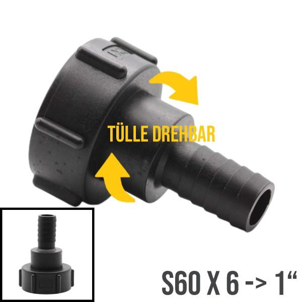"""S60x6 auf Tülle drehbar 1"""" (25mm) IBC Adapter Container Tank Zubehör"""