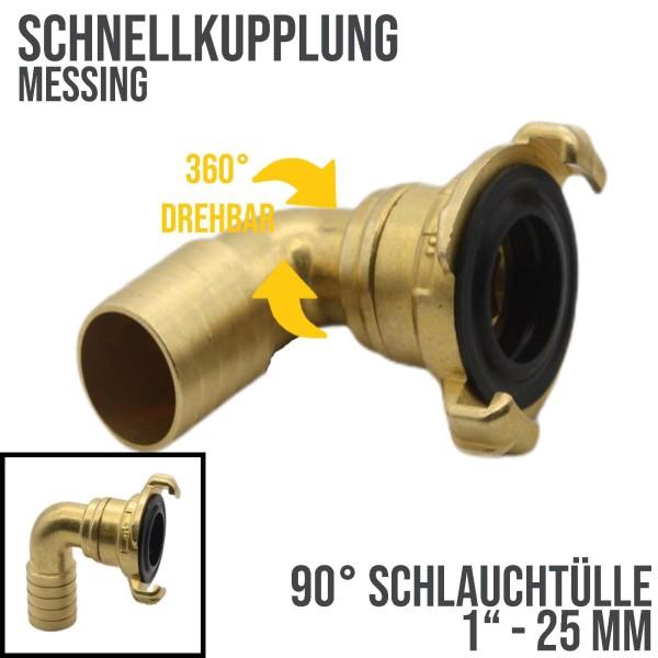 """1"""" - 25 mm Messing Schlauch Schnell Kupplung 90° Winkel Tülle drehbar (GEKA kompatibel)"""